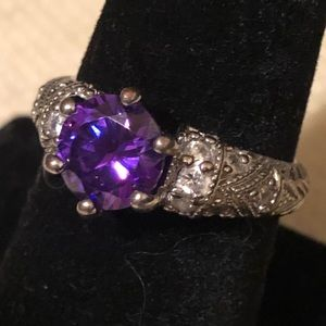 S/S Imitation Amethyst Ring  size 7